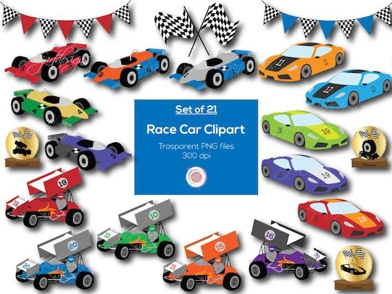 Race Cars Clipart Clip Art Digital Elements Racing Etsy