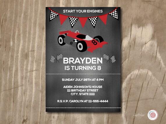 Chalkboard Race Car Birthday Invitation Custom Printable Kids Childrens