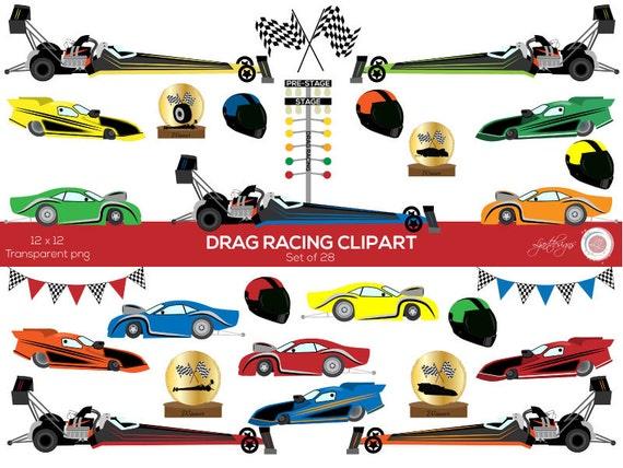 Car Clipart Drag Racing Clip Art Race Cars Kids Etsy