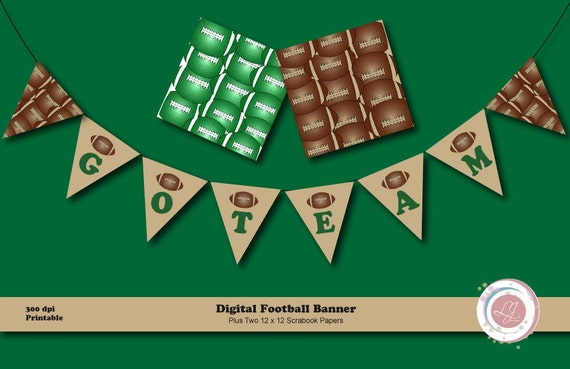 Digital Football Banner And Scrapbook Papers Clipart Crafts Etsy