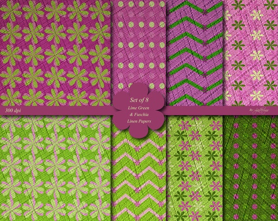 Linen Textured Lime Green And Fuschia Digital Scrapbook Papers Patterned Papers Green Pink Craft Supplies Instant Download By Ljartdesigns Catch My Party
