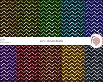 Chevron Glitter Papers, Textured, Scrapbooking, Crafts, Digital Papers, Supplies, Printable, Digital, Instant Download, Patterned, Colorful