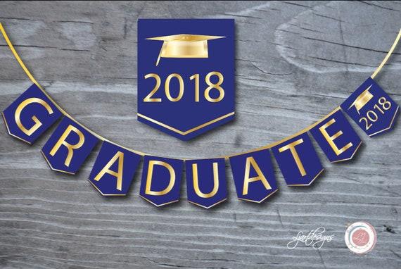 royal blue and gold digital graduation bunting flags graduate