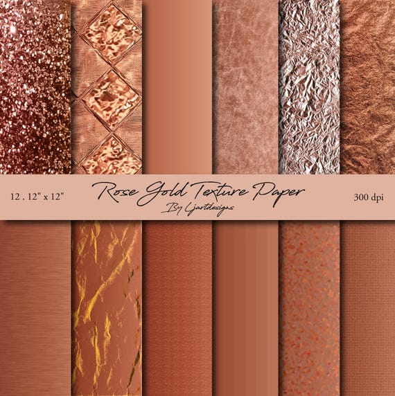 Rose Gold Scrapbooking Papers Foil Textured Crafts Etsy