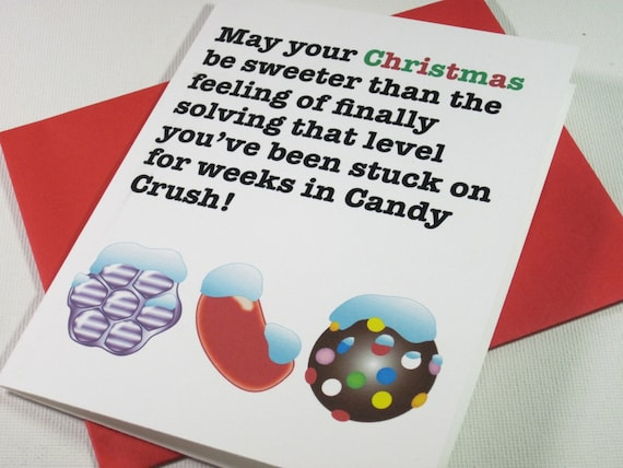 instant printable digital download candy crush christmas card etsy