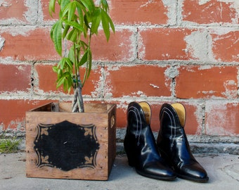 Vintage Cowboy Boots/ Vintage Cowgirl Boots/ Black Cowboy Boots/ Black Ankle Boots/ Stacked Heel Boots/ Stitch Cowboy Boots/ White Arrows