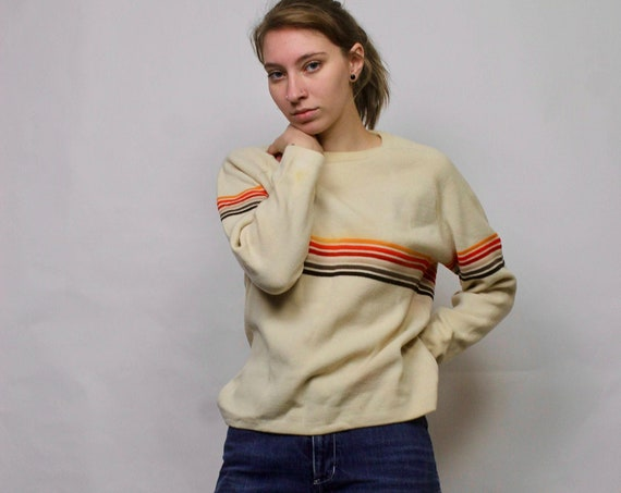 Vintage Ski Sweater/ 70s Striped Ski Sweater/ Vintage Ski Wear/ Striped Cream Sweater/ Oversized Sweater/ Vintage Knit Ski Sweater