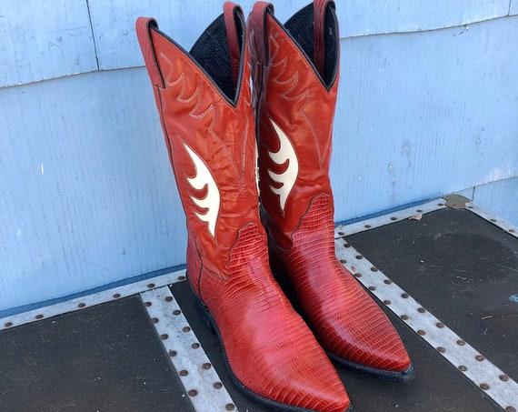 Red Vintage Cowboy Boots/ Vintage Justin Cowgirl Boots/ Diamond J Justin Boots/ Vintage Inlay Cowboy Boots/ Vegan Cowgirl Boots/ Red Boots