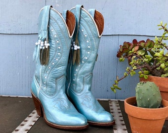 5393a0014397 Vintage Cowboy Boots  Cowgirl Boots  Vintage Capezio  Inlay Boots  Blue Cowboy  Boots  Star Inlays  Stacked Wooden Heels  Miss Capezio