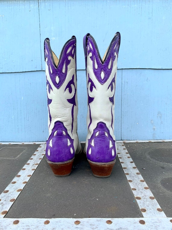 Vintage White Cowboy Boots/ White with Purple Inl… - image 6
