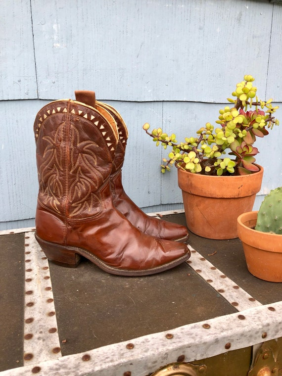 40s Brown Frye Pee Wee Boots with White Cut Outs/