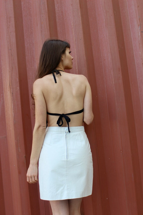 Vintage Leather Skirt/ White Mini Skirt/ Leather … - image 6
