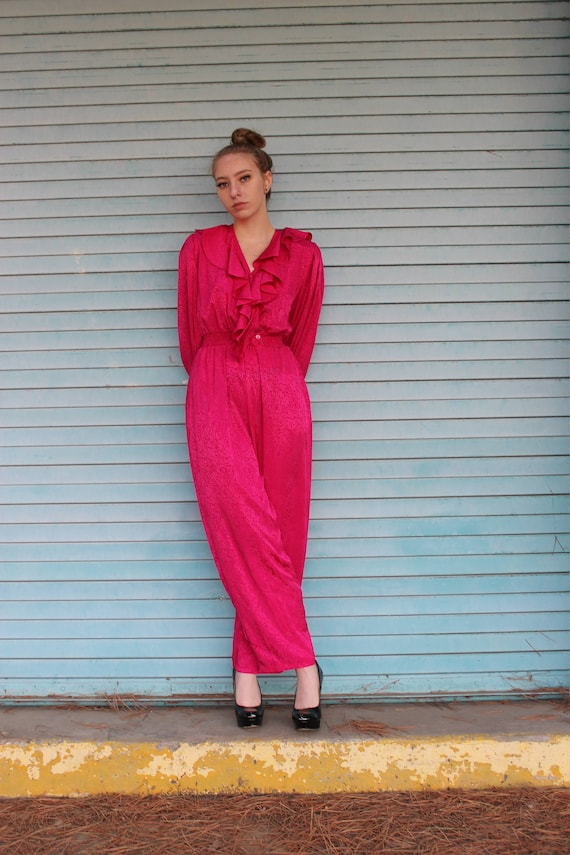 80s Silk Straight Leg Jumpsuit/ Hot Pink Jumpsuit/