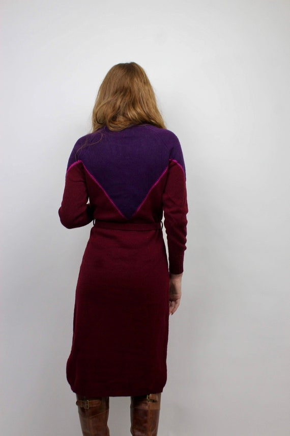 Vintage Sweater Dress/ Purple Sweater Dress/ Bloc… - image 6