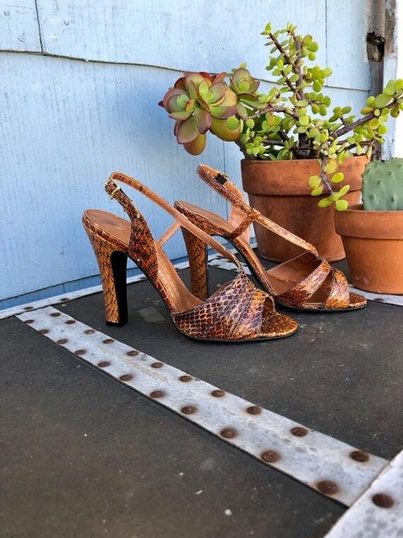 Vintage Snakeskin Heels/ Brown Snakeskin Heels/ St