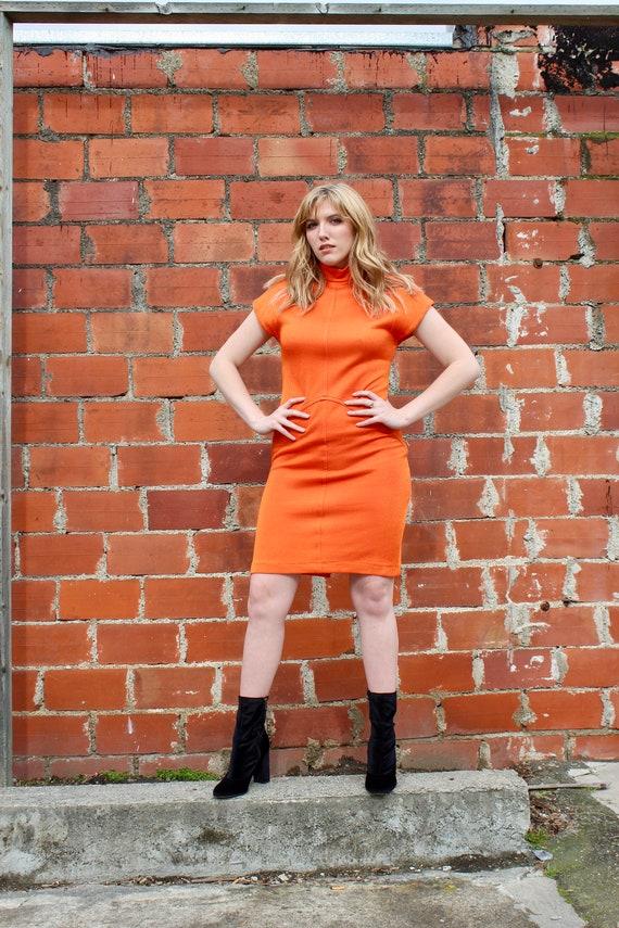 70s Sweater Dress/ Orange Sweater Dress/ Pink Swea