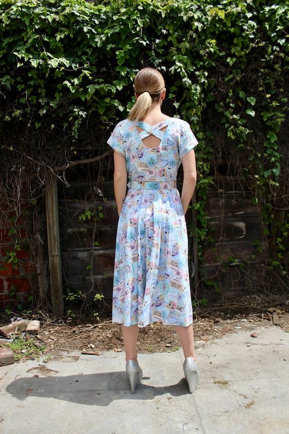 60s Motel Novelty Print Dress/ Vintage 60s Day Dr… - image 5