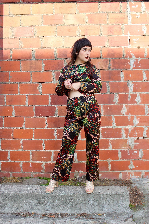 8b15b19cd3ba2 70s Animal Print Pants/ 70s Animal Print Top/ 70s Two Piece Animal Print  Set/ Cheetah Print/ Zebra Print/ Leopard Print/ Mom Jeans/ Bells