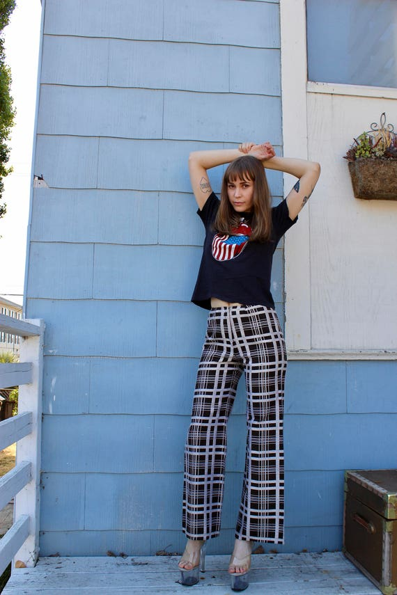 70s Bell Bottoms/ Vintage Bell Bottoms Checkered B