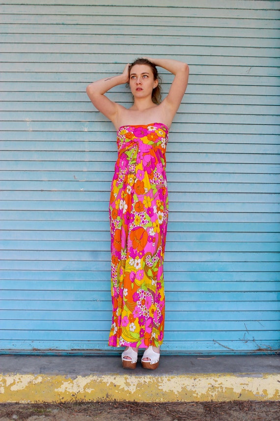 60s Hawaiian Print Halter Dress/ Button Front Dres