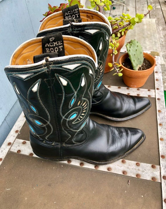 Black Vintage Cowboy Boots/ Cowgirl Boots/ Vintag… - image 2