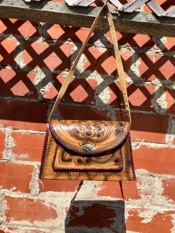 Vintage Mexican Tooled Leather Purse/ Purple Braid