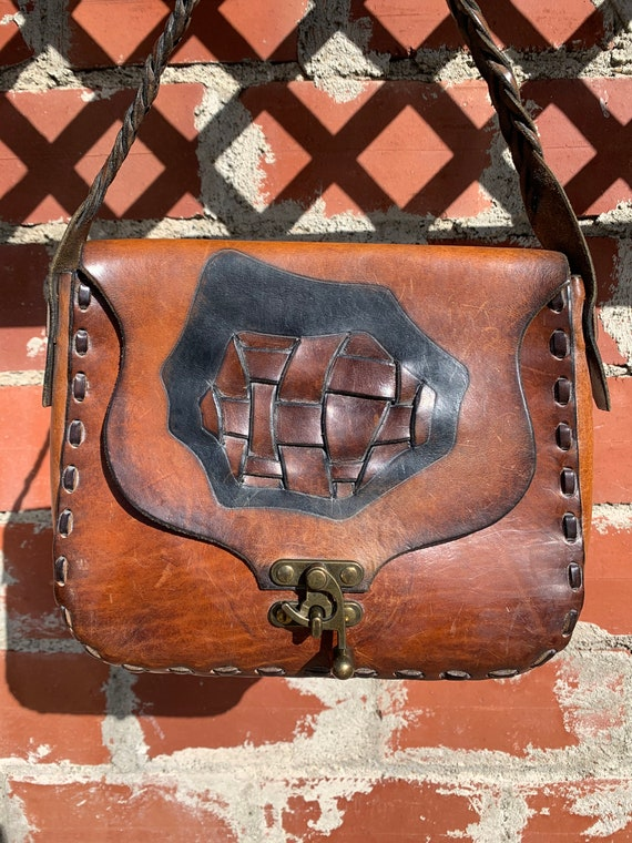 70s Leather Boho Purse/ Mexican Tooled Leather Pur