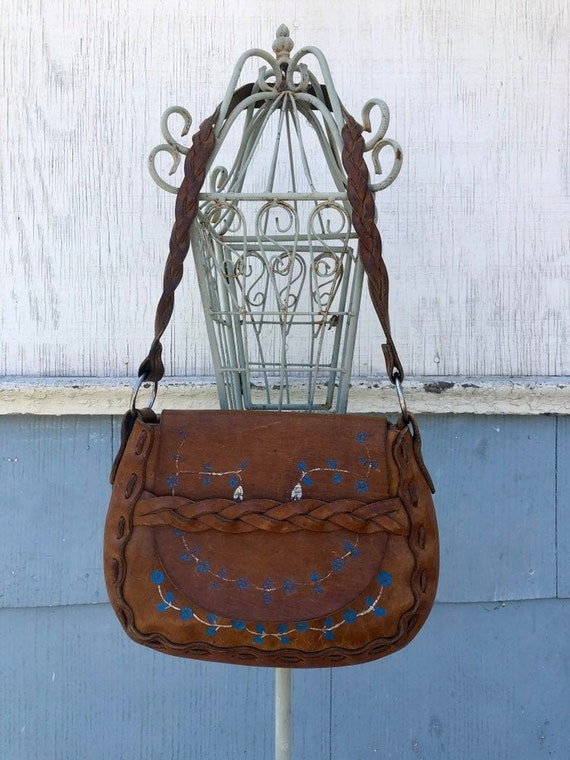 70s Tooled Leather Purse/ Braided Leather/ Hand Pa