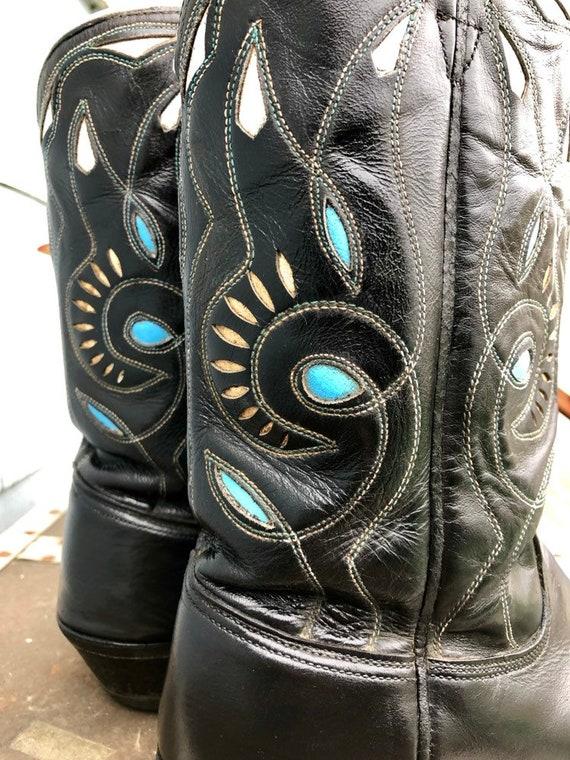 Black Vintage Cowboy Boots/ Cowgirl Boots/ Vintag… - image 8