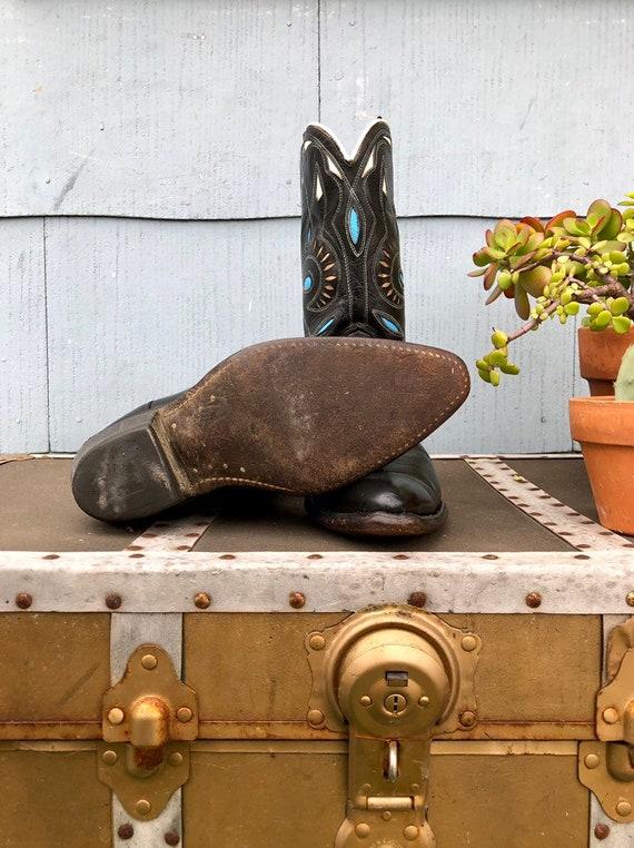 Black Vintage Cowboy Boots/ Cowgirl Boots/ Vintag… - image 9