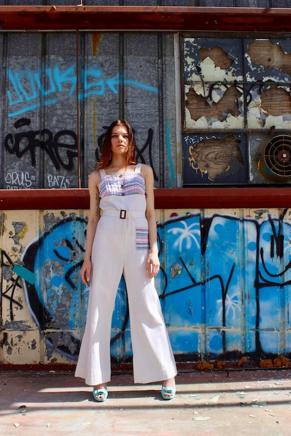 70s Bell Bottom Jumpsuit/ White Linen Jumpsuit/ Ga