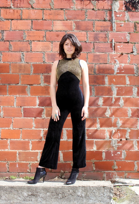 70s Black Velvet Jumpsuit/ Catsuit/ Leotard/ Gold
