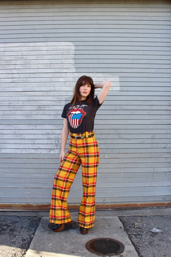 70s Bell Bottoms/ Vintage Bell Bottoms/ Plaid Bell