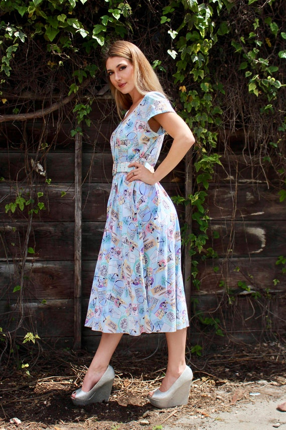 60s Motel Novelty Print Dress/ Vintage 60s Day Dr… - image 6