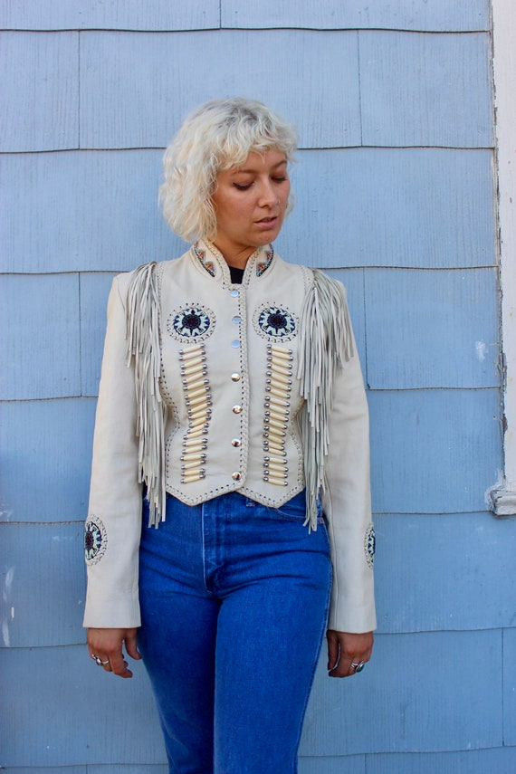 Vintage White Leather Fringe Jacket/ Southwestern