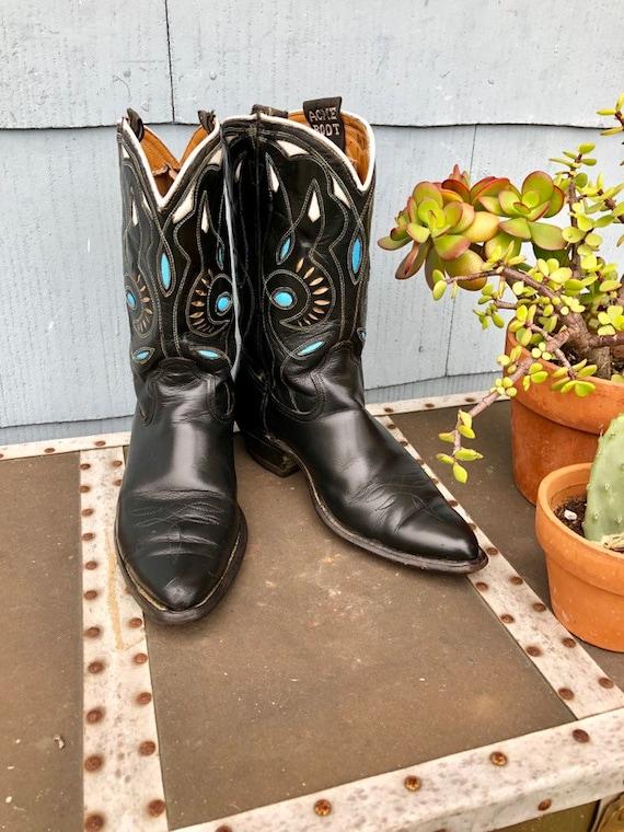 Black Vintage Cowboy Boots/ Cowgirl Boots/ Vintag… - image 10