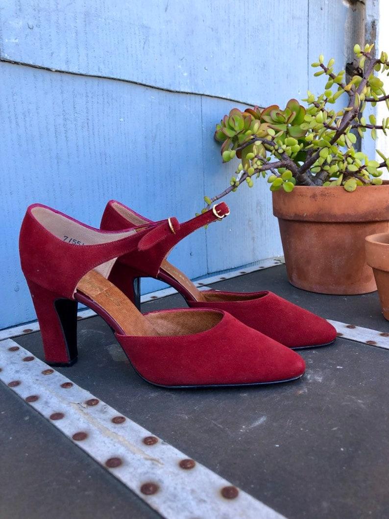 e45047ba4da 70s Block Heels/ Chunky Heels/ Burgundy Suede Heels/ Dark Red/ Closed Toe  Heels/ Chandlers Vintage Heels/ Gold Buckle Closure/ Thick Heels