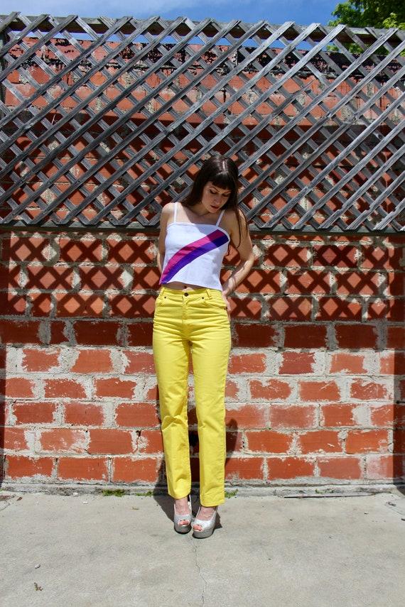 RARE/ 70s Big E Levis/ Yellow Vintage Levis Jeans/