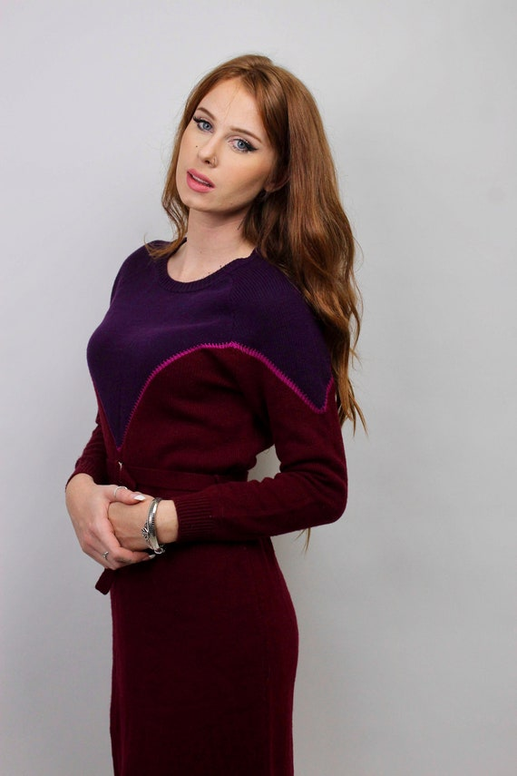 Vintage Sweater Dress/ Purple Sweater Dress/ Bloc… - image 3