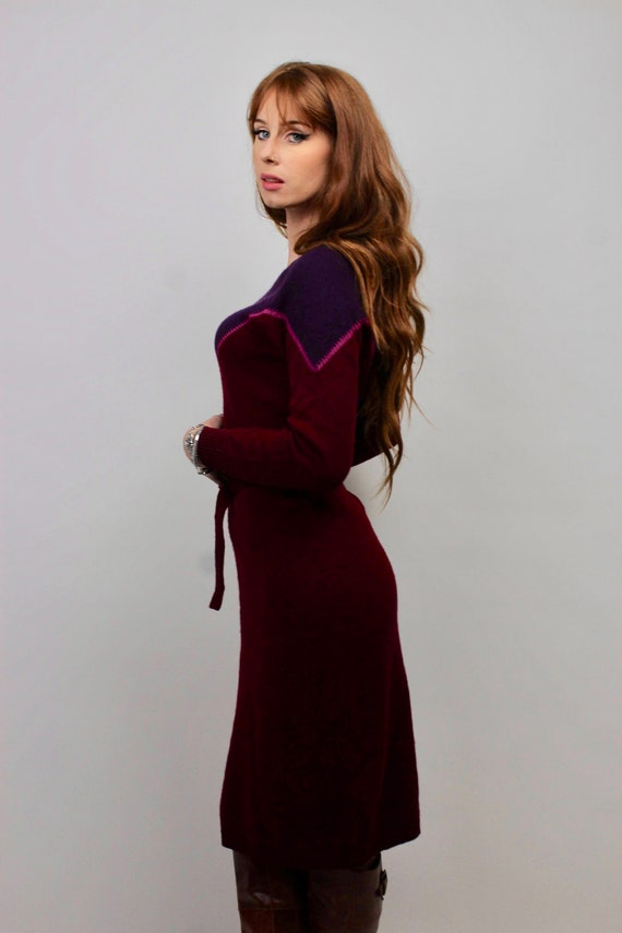Vintage Sweater Dress/ Purple Sweater Dress/ Bloc… - image 7