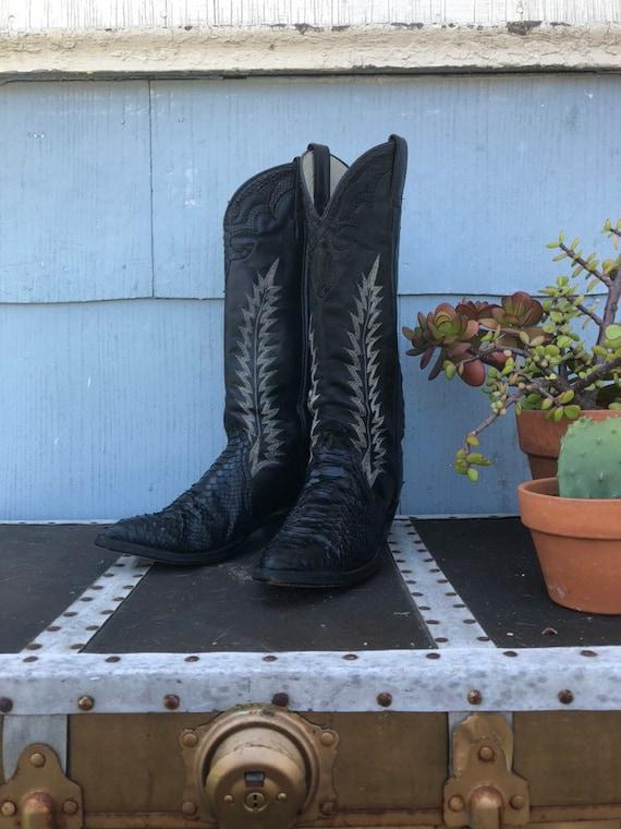 Vintage Black Snakeskin Cowboy Boots/ Stitched Cow