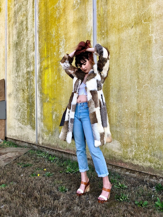 Vintage Fur Coat/ Patchwork Fur Coat/ Vintage Rabb