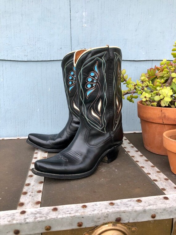 Black Vintage Cowboy Boots/ Cowgirl Boots/ Vintage