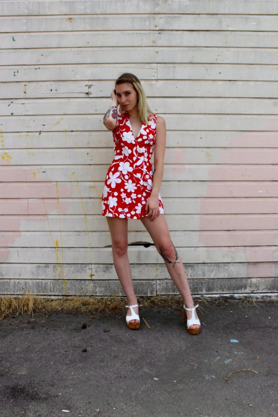60s Red Flower Print Romper/ 60s Jumpsuit/ 60s Pla