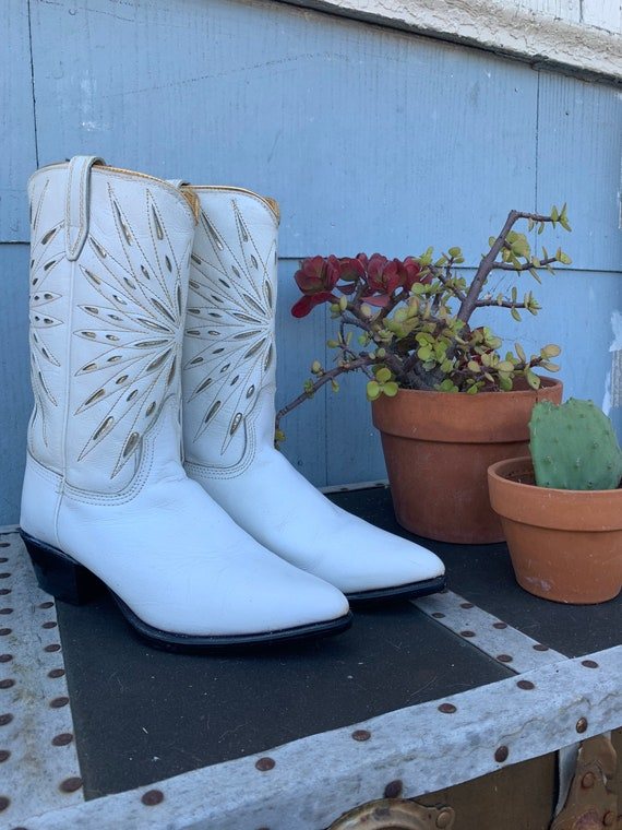 Vintage Inlay Cowboy Boots/ White Acme Starburst I