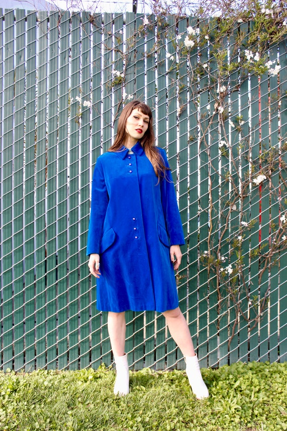 Vintage Velvet Coat/ 60s Velvet Coat/ Blue Velvet