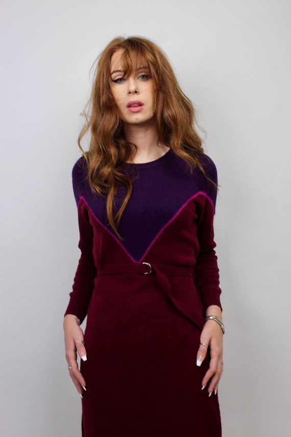 Vintage Sweater Dress/ Purple Sweater Dress/ Bloc… - image 2
