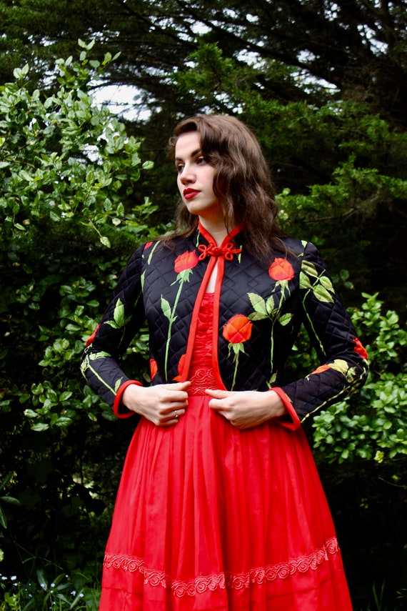 50s Black Oriental Coat/ Red Rose Coat/ Cropped Ch