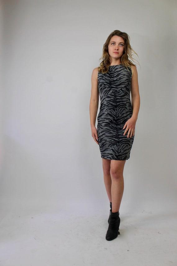 90s Vintage Moschino Jeans Zebra Print Dress/ Mosc