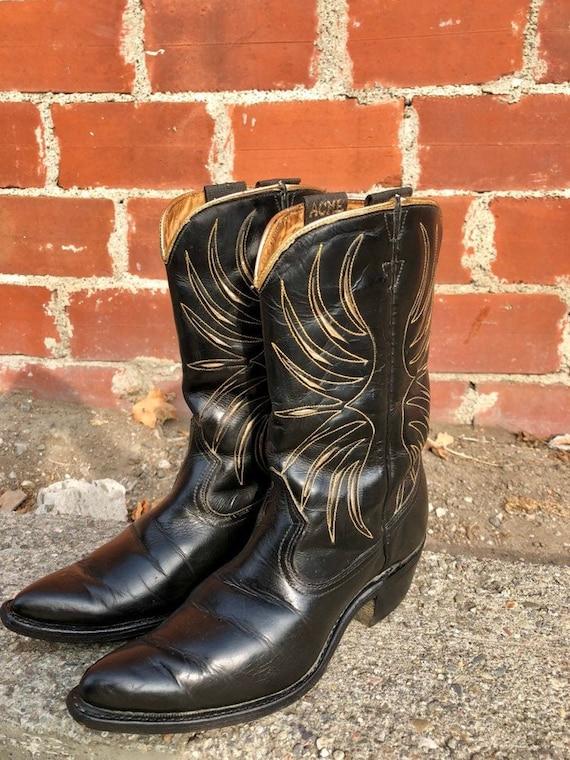 Black Vintage Cowboy Boots/ Inlay Cowboy Boots/ Go
